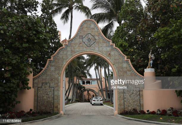An entranceway to President Donald Trump's Mar-a-Lago resort is seen on April 03, 2019 in West Palm Beach, Florida. Reports indicate that at over the...