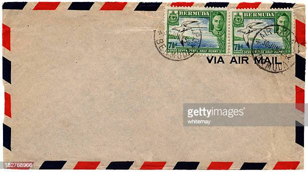 envelope posted from bermuda in 1945 - british empire stock pictures, royalty-free photos & images
