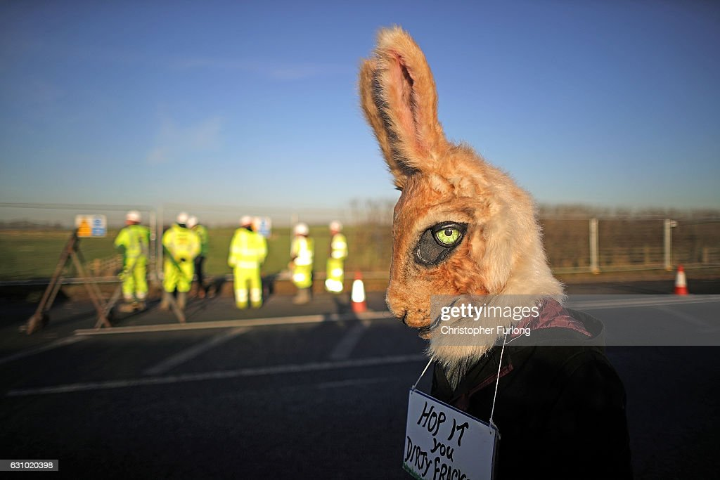 An environmental activist dressed as a rabbit poses with a sign saying 'hop it you dirty frackers' as workmen begin the construction of the shale gas fracking site near Westby on January 5, 2017 in Blackpool, England. Engineers from energy company Cuadrilla have begun to build a new access road to the site off Preston New Road in preparation for extracting gas. The site will be the first in the UK to extract shale gas since 2011.