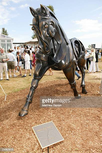An equestrian sculpure is shown at the Prudential Financial Grand Prix Hamptons Classic Horse Show August 31 2003 in Bridgehampton New York