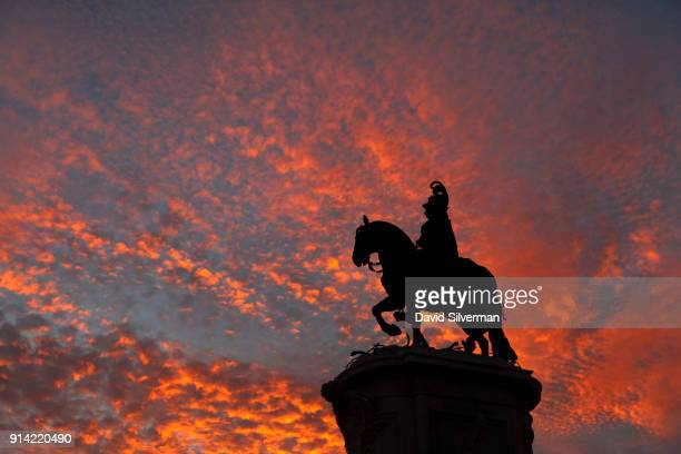 An equestrian statue of King José I dominates the center of the the Praça do Comércio the popular riverfront square in the heart of the historic city...