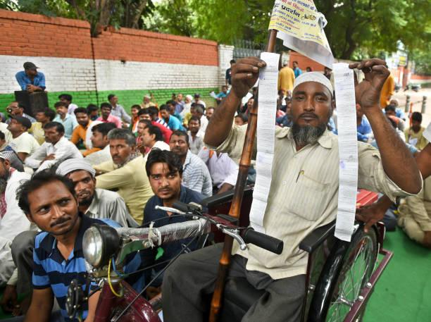 IND: Members Of Delhi E-Rickshaw Ekta Manch Protest Against The Delhi Government At Jantar Mantar