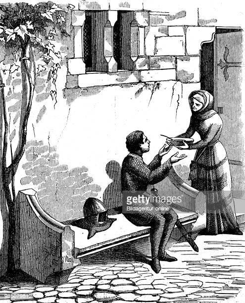 an errant knight in the Middle Ages obtained from a woman a bowl of soup ein fahrender Rittersmann im Mittelalter erhaelt von einer Frau einen Teller...