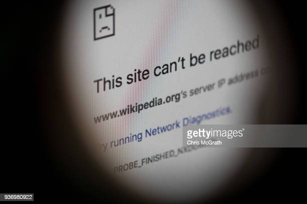 An error message for the blocked Wikipedia website page is seen on a computer screen on March 23 2018 in Istanbul Turkey The Government of Turkish...