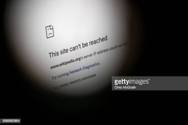 An error message for the blocked Wikipedia website page is seen on a computer screen on March 23, 2018 in Istanbul, Turkey. The Government of Turkish...