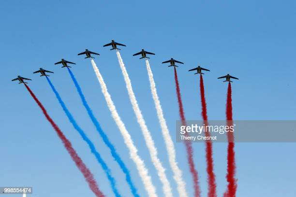 An error occurred in the colors of the French flag produced by the fumes of the Patrouille de France during the traditional Bastille Day military...
