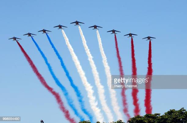 An error occurred in the colors of the French flag produced by the fumes of the 'Patrouille de France' during the traditional Bastille Day military...