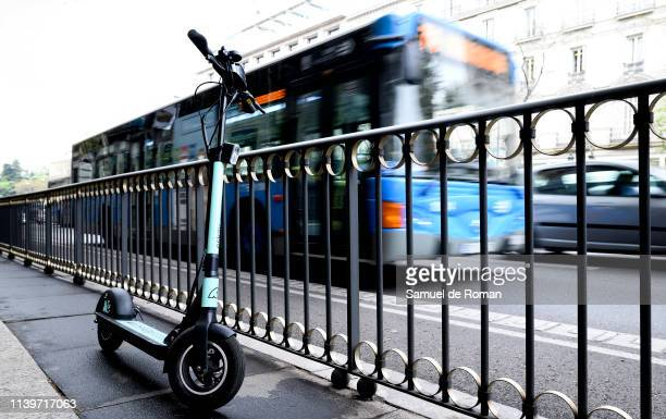 An escooter is seen on April 01 2019 in Madrid Spain Several companies offer their electric scooters in the city as an alternative of more ecological...