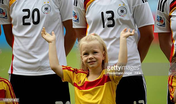 An escord kid celebrates during the FIFA U20 Women's World Cup Final match between Germany and Nigeria at the FIFA U20 Women's World Cup stadium on...