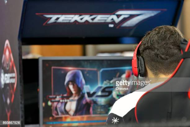 An esport player competes the video game Tekken 7 during an esports tournament organized by FDJ at 'Le Carreau du Temple' on December 16 2017 in...