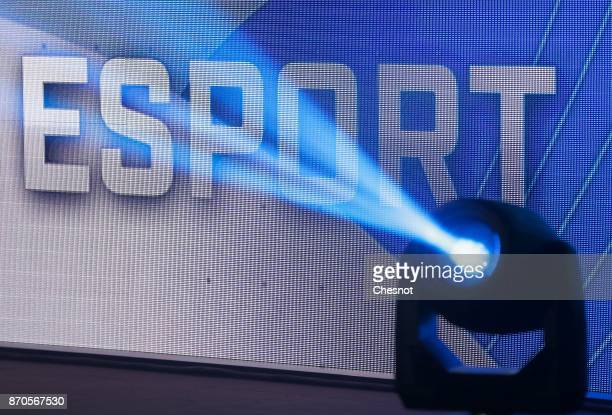 An eSports logo is displayed during an electronic video game tournament during the 'Paris Games Week' on November 5 2017 in Paris France The ESWC is...