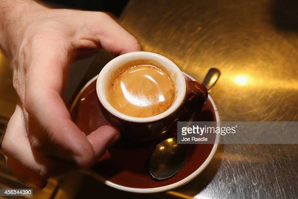 An espresso coffee is seen at Eternity Coffee Roasters during National Coffee Day on September 29 2014 in Miami Florida The day is for coffee...
