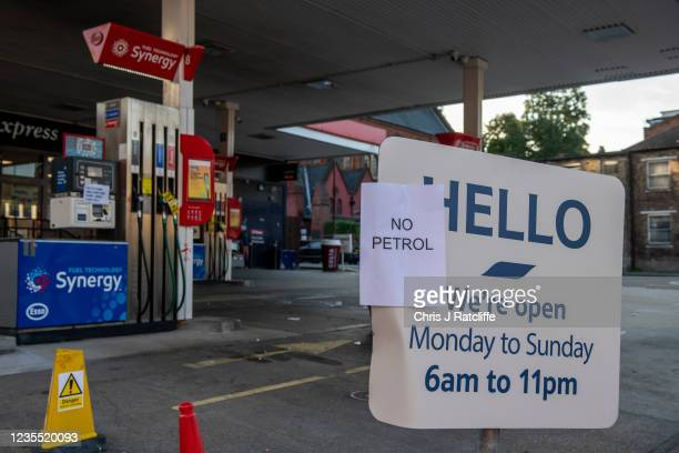 An Esso garage in Lewisham has no petrol available on September 26, 2021 in London, England. A shortage of lorry drivers in the UK has affected a...