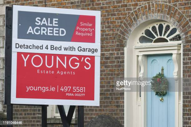 An estate agent sign advertising 4 bed house for sale in Ranelagh. House prices in Ireland are beginning to fall, according to the latest annual...