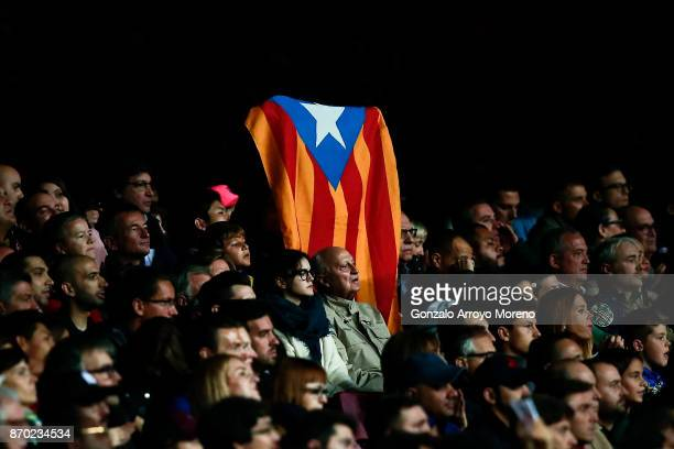An Estelada flag is shown form the grandstands during the La Liga match between FC Barcelona and Sevilla FC at Camp Nou stadium on November 4 2017 in...