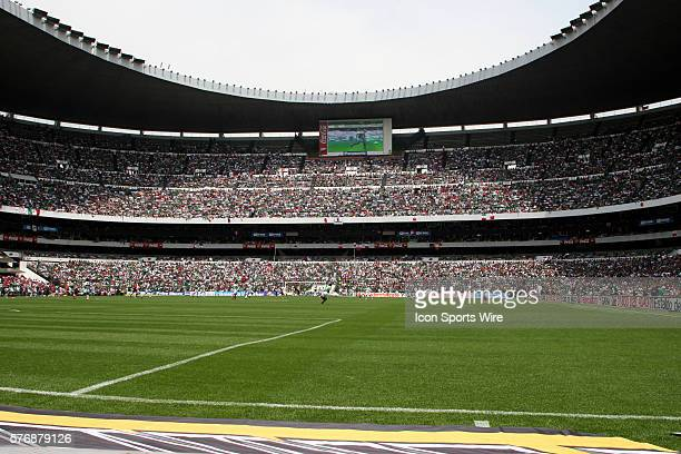 An estimated 110,000 spectators fill Estadio Azteca stadium during CONCACAF soccer World Cup Qualifying action. Mexico defeated the United States 2-1...