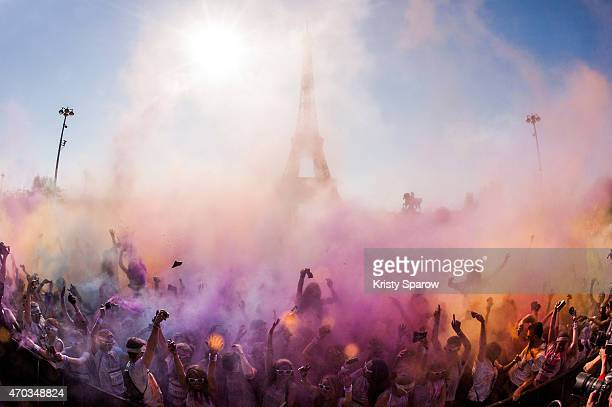 An estimated 20000 people take part in the second edition of The Colour Run starting at Hotel de Ville and finishing at the Eiffel Tower on April 19...