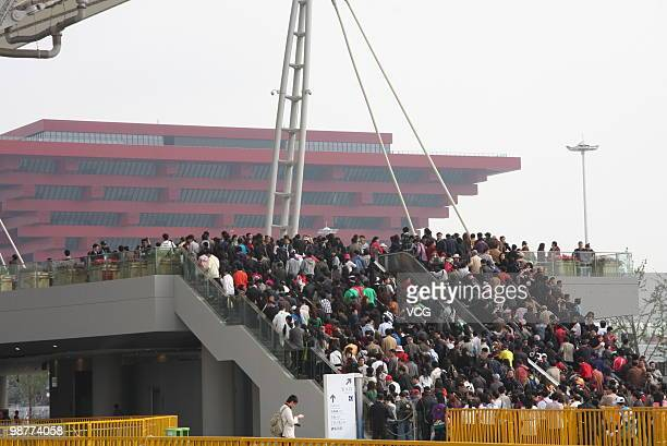 An estimated 20000 people wait at the NO6 entrance of Shanghai World Expo on May 1 2010 in Shanghai China The expo which runs through October 31 is...