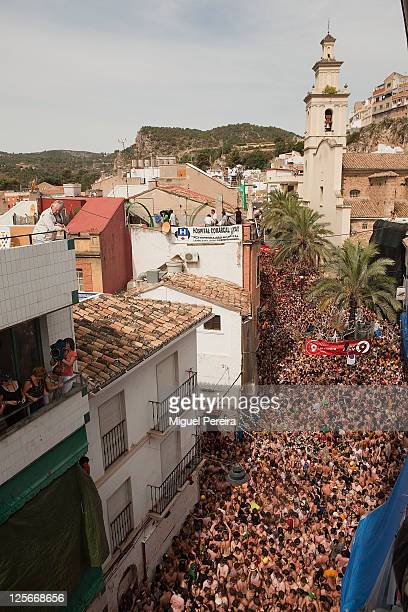 An estimated 35000 people packed the streets of Bunol during the Tomatina the world's biggest tomato fight held annually the last Wednesday of August...