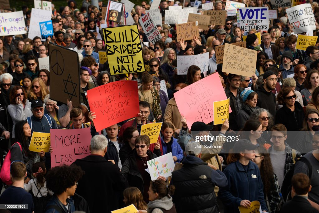 Protestors Rally In Pittsburgh Against Trump's Visit Days After Mass Shooting : News Photo