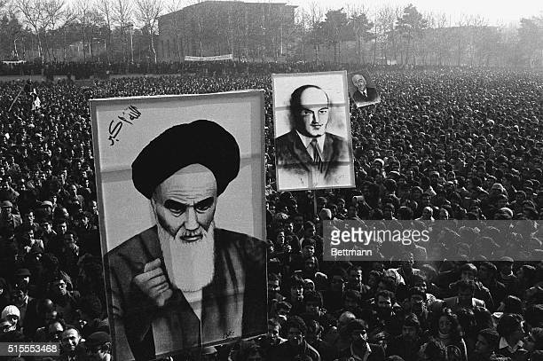 An estimated 400000 demonstrators against Shah Mohammed Reza Pahlevi fill the campus of Tehran University carrying huge portraits of Ayatollah...