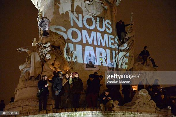 An estimated 5000 people gather at Place de la Republique in support of the victims after the terrorist attack earlier today on January 7 2015 in...