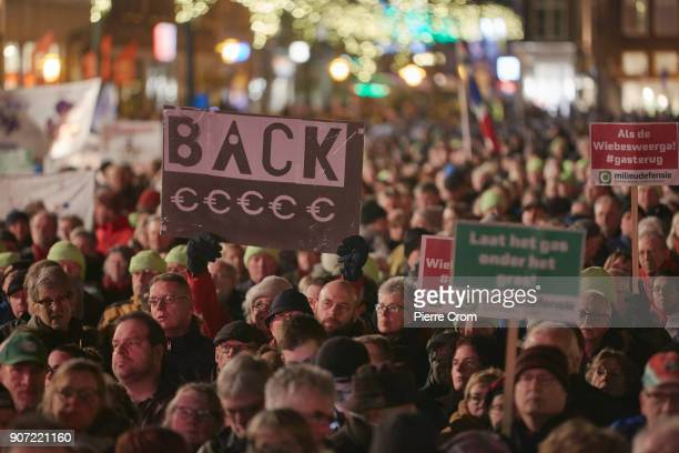 An estimated ten thousand people march during a rally against gas extraction on January 19 2018 in Groningen Netherlands Frequent earthquakes due to...