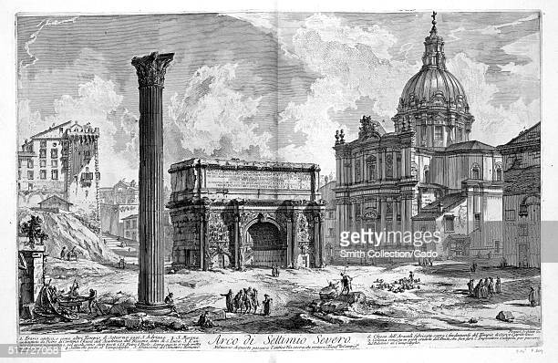 An etching depicting the Arch of Septimius Severus the structure was built in 203 AD to celebrate the military victories against the Parthian Emprire...