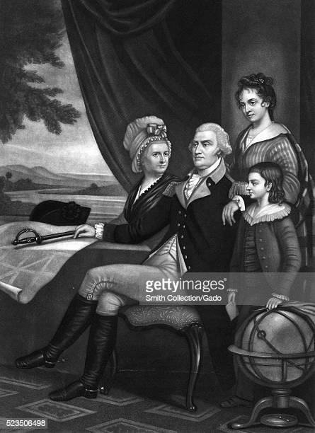 An etching from a family portrait of George Washington with Martha Washington seated next to him his arm is rested on the shoulder of his...