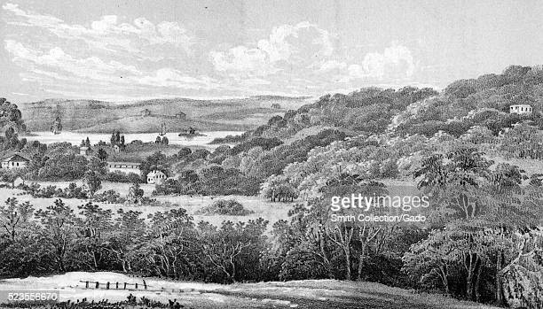 An etching from a landscape painting of the Harlem Plains the area is covered in rolling hills open fields and trees houses can be seen scattered...
