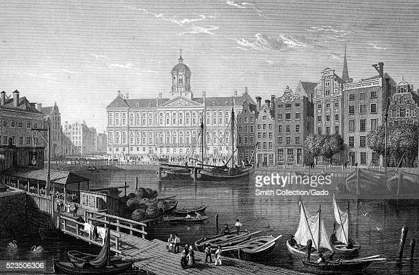 An etching from a painting of Amsterdam featuring the Royal Palace of Amsterdam and the surrounding area of the city other multistory brick and...