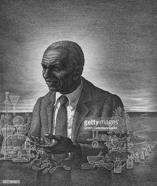 An etching from a portrait of George Washington Carver an American botanist and inventor surrounded by transparent illustrations of free floating...