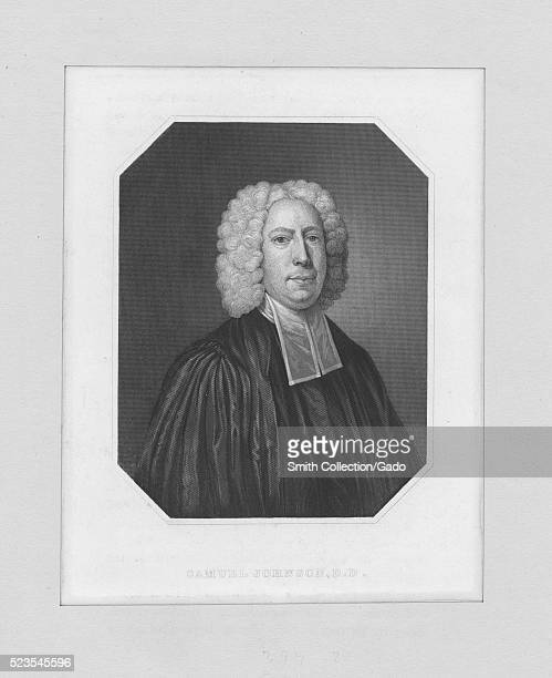 An etching from a portrait of Samuel Johnson an English writer editor and lexicographer who published A Dictionary of the English Language in 1755...