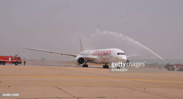 An Ethiopian Airlines Boeing 787 from Addis Ababa is seen after landing in Kaduna some 190 kilometres to the north on March 8 2017 Nigeria's capital...