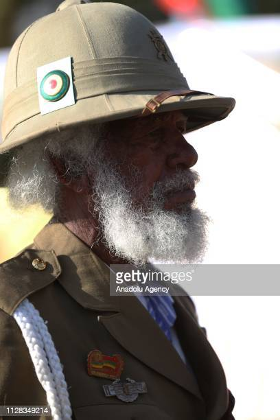 An Ethiopian attends a parade with his uniform to mark the 123rd anniversary of the battle of Adwa in which Ethiopia inflicted a crushing defeat on...