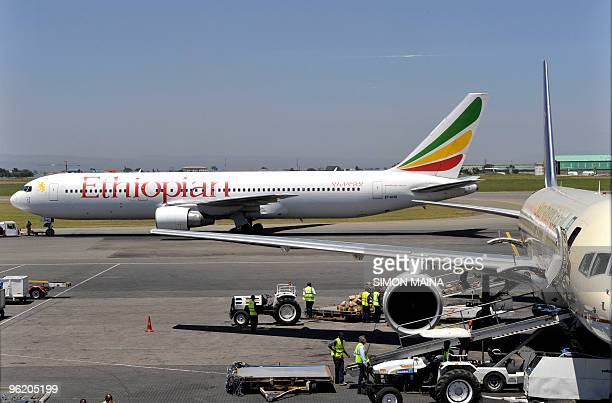 An Ethiopian Boeing 737 flight leaves the hanger in Nairobi on January 26 2010 The crash of an Ethiopian Airlines jet in which 90 people are feared...
