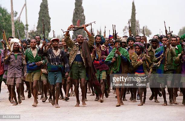An Ethiopian militia group parading in the streets of Aksum in the Tigray province