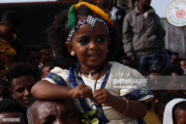 An Ethiopian Orthodox Christian girl attends Ashenda Festival with her traditional outfits at Romanat Square in Mek'ele of the northern Tigray Region...