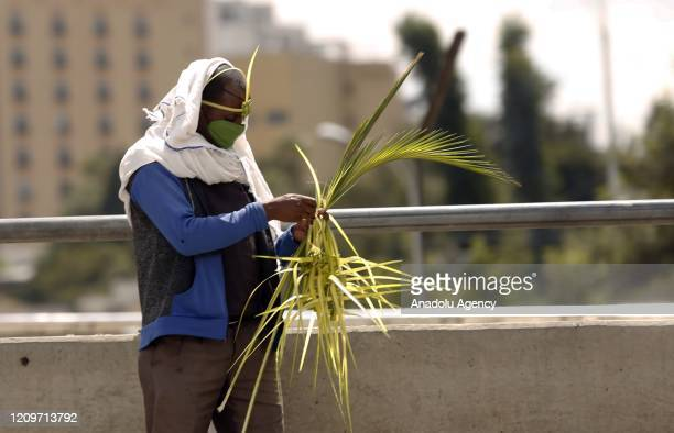 An Ethiopian Orthodox Christian wearing leaf a crown made out of date palm and a face mask as a preventive measure against the coronavirus pandemic...