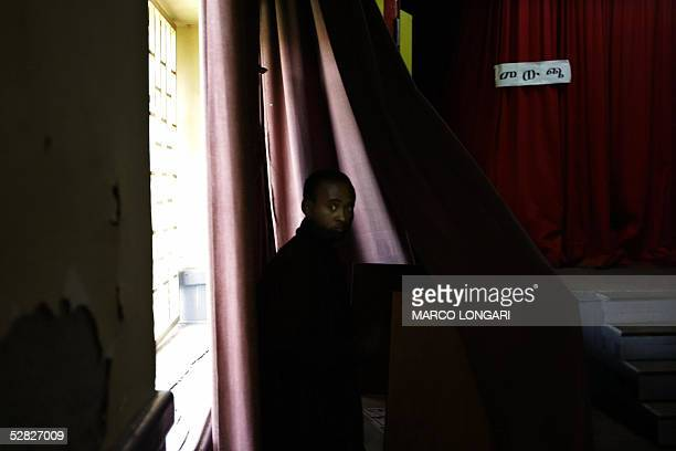 An Ethiopian student casts his ballot 15 May 2005 in a polling station in the Addis Ababa University Ethiopia Ethiopians flocked to the polls on...