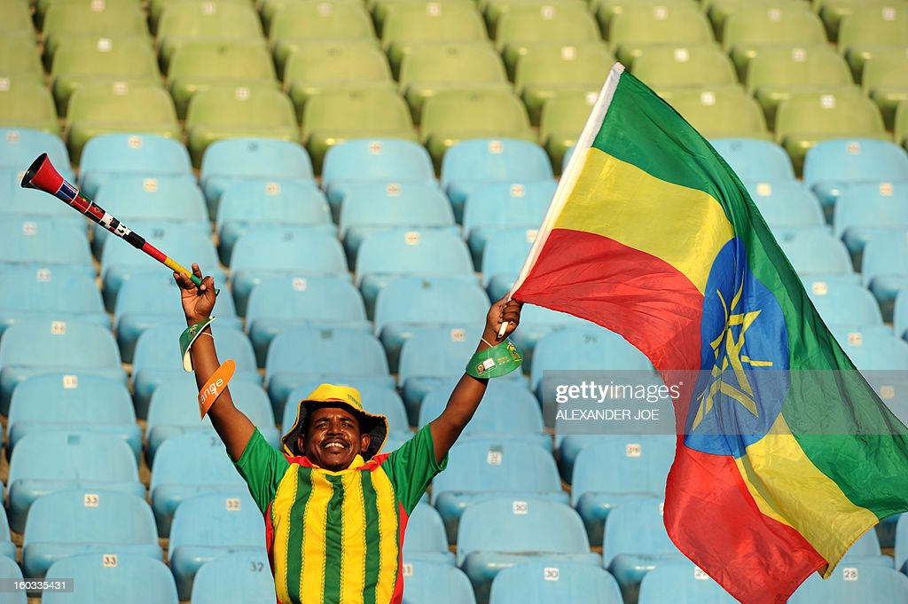 An Ethiopian supporter waves his national flag before the match against Nigeria during the 2013 Africa Cup of Nations Group C match at Royal Bafokeng Stadium in Rustenburg on January 29, 2013.