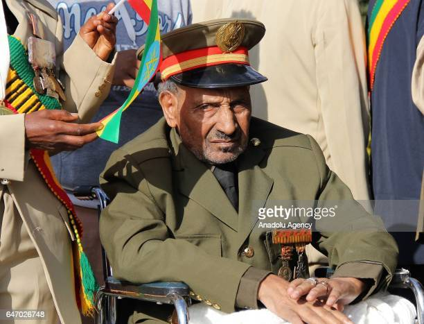 An Ethiopian veteran wearing military uniform and medals is seen during the celebration of the 121st Anniversary of Ethiopia's Battle of Adwa at King...