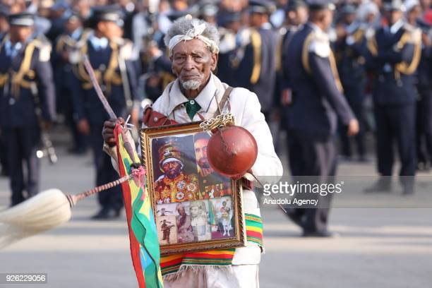 An Ethiopian veteran wearing military uniform and medals is seen during the celebration of the 122nd Anniversary of Ethiopia's Battle of Adwa at King...