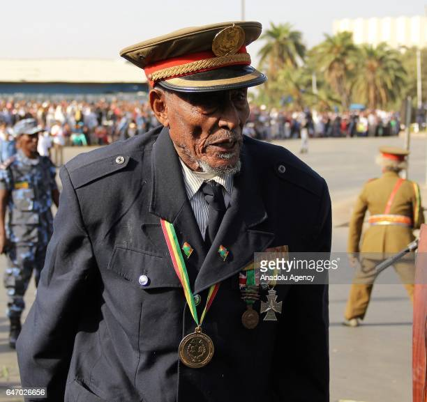 An Ethiopian veteran wearing military uniform and medals walks during the celebration of the 121st Anniversary of Ethiopia's Battle of Adwa at King...