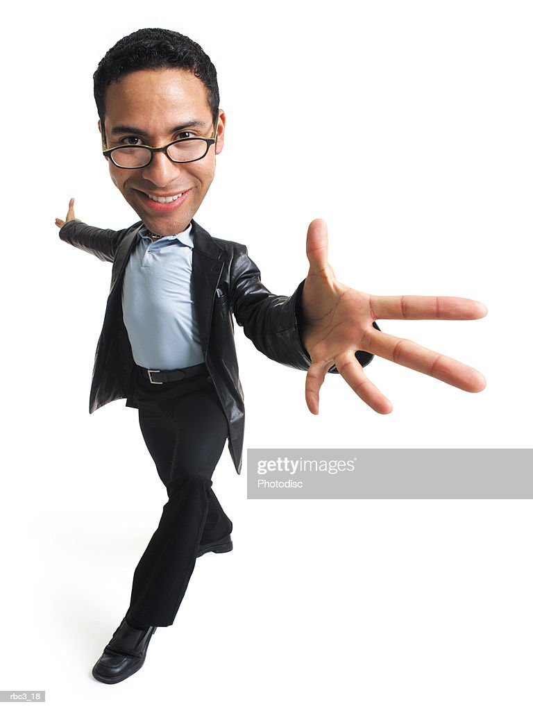 an ethnic man in glasses a blue shirt black slacks and a leather jacket takes a step forward and extends his arms and hands out : Stockfoto