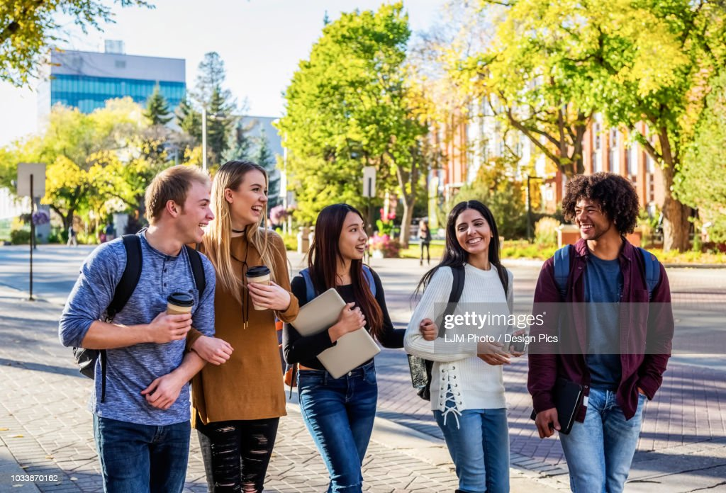 an ethnically diverse group of university students walk and talk