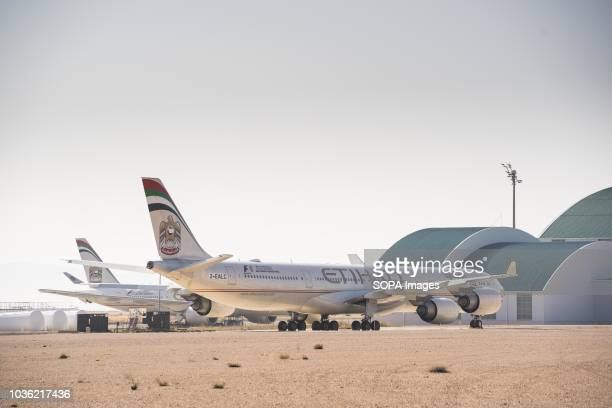 An Etihad airline airbus A340 seen parked at Teruel airport Many people think Teruel airportis an aircraft graveyard where aircrafts go through their...