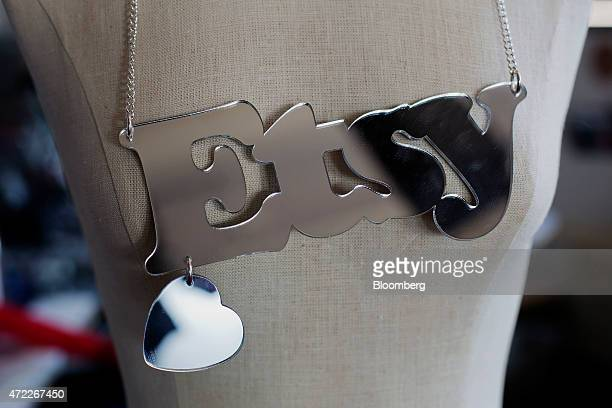 An Etsy necklace hangs on a mannequin in the craft lab at the company's headquarters in the Brooklyn borough of New York US on Monday May 4 2015 Etsy...
