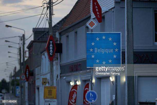 An EU border sign marks the Belgian border on May 10 2016 in Brunehaut Belgium The Schengen Agreement which led to the creation of Europe's...