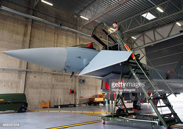 An Eurofighter Typhoon of the german airforce pictured on September 10 2014 at the airforce base Amari in Estonia German airforce is part of the...